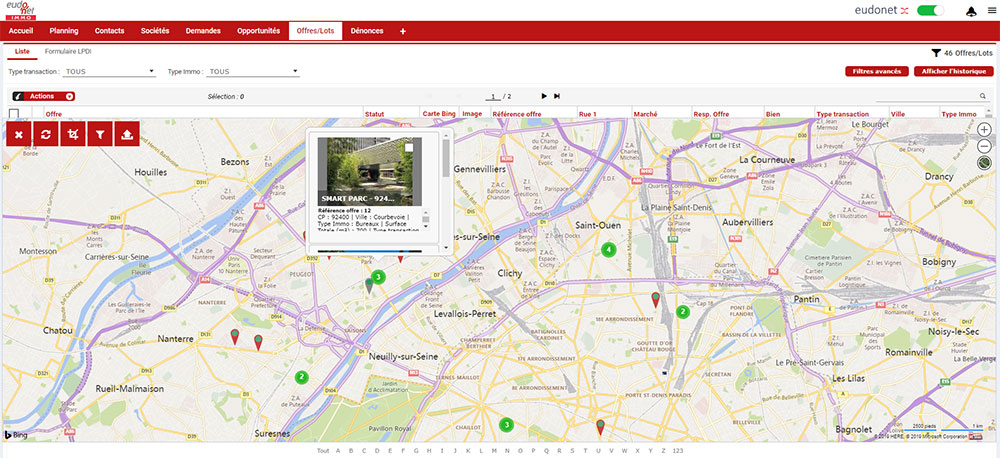 Gestion d'actifs immobiliers cartographie