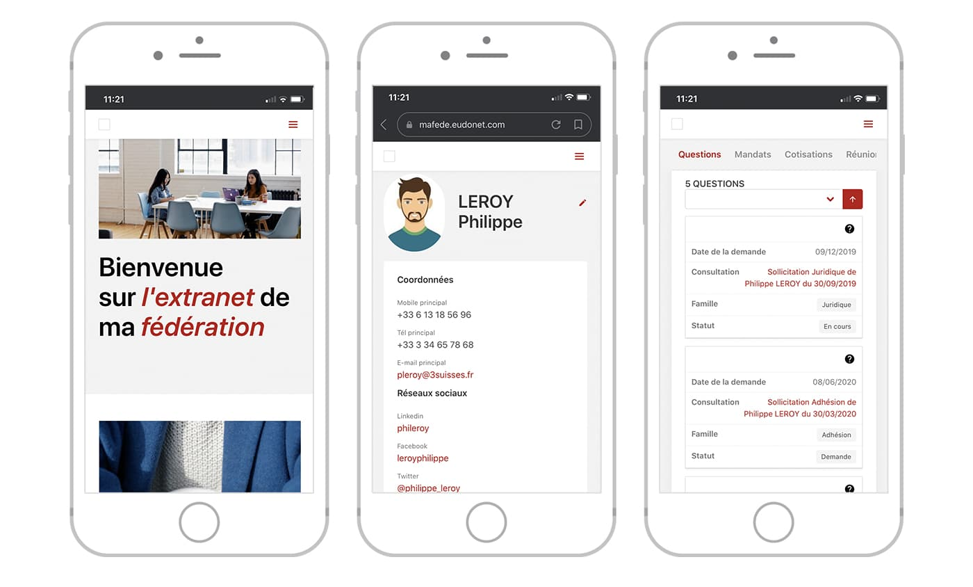 Extranet Fédérations professionnelles mobile
